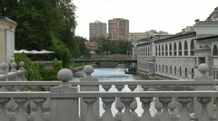 View from triple bridge (Tromostovje) to butcher's bridge (Mesarski most) Stock Footage
