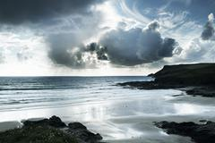 polzeath beach in cornwall england - stock photo