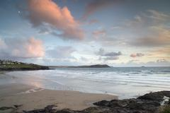 Stock Photo of polzeath beach in cornwall england at sunset