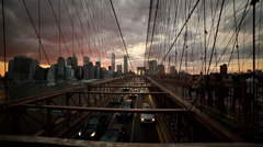 Brooklyn Bridge Sunset Cars Driving Traffic Manhattan Skyline New York City Stock Footage
