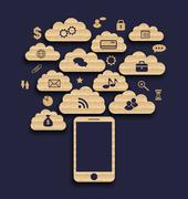 Smart device with cloud of application icons, business infographics elements Stock Illustration