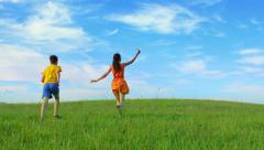 Two happy kids enjoying childhood and freedom, dream to travel Stock Footage