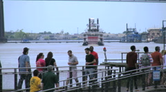 New Orleans Mississippi steamboat & and bridge 4k Stock Footage