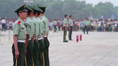 National Flag Guard in Tiananmen square at daytime, HD. Stock Footage