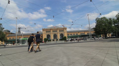 Downtown Hannover Plaza of Main Railway Station Stock Footage