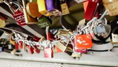 love romantic couple. togetherness. promises. memories. locks. locked - stock footage