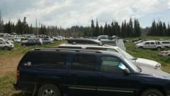 Cars Parked Field for Rainbow Gathering. 4k Stock Footage
