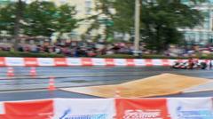 Racer rides a quad bikes. the rain. G-Drive Show. 1280x720 Stock Footage