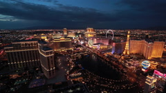 Las Vegas strip wde fixed shot at night Stock Footage