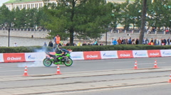 Motorcyclist burning rubber. Motorshow. G-Drive Show Stock Footage