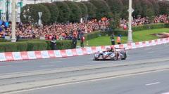Roman Rusinov rides in the city on prototype team G-Drive Racing. 1280x720 Stock Footage