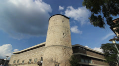 Parts of City wall and tower in Hannover Germany Stock Footage