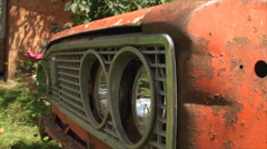 Detail Of Rusty Old Car, Orange, Decay, Aged, Vintage, Headlights, Pan Stock Footage