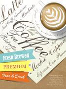 fresh brewed coffee poster - stock illustration