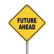 3d illustration of future ahead road sign Stock Illustration