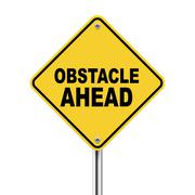 3d yellow roadsign of obstacle ahead - stock illustration