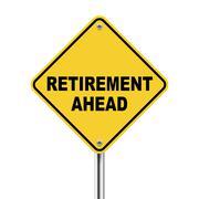 3d illustration of road sign of retirement ahead Stock Illustration