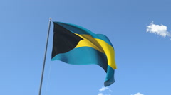 The flag of Bahamas Waving on the Wind. - stock footage