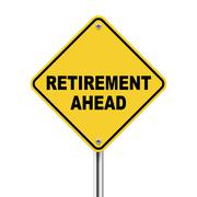 3d illustration of road sign of retirement ahead Stock Illustration