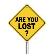 3d yellow roadsign of question are you lost Stock Illustration