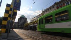 Train arriving at station in Hannover Stock Footage