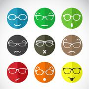 vector icons of faces with eyeglasses. - stock illustration