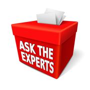 the word ask the experts on the red box - stock illustration