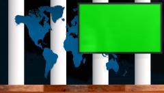 Virtual Studio with green screen TV - news studio background Stock Footage