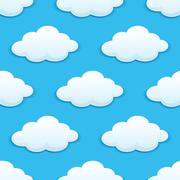 seamless pattern with fluffy clouds - stock illustration