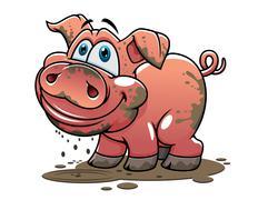 cute little muddy cartoon pig - stock illustration