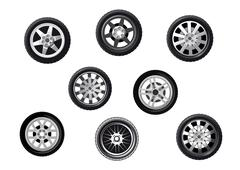 collection of alloy sporting motor car wheels - stock illustration