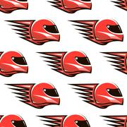 seamless pattern of red racing helmet with speed spikes - stock illustration