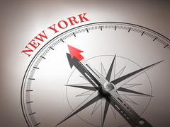 Stock Illustration of abstract compass needle pointing the destination new york