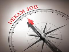 abstract compass needle pointing the word dream job - stock illustration