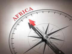 abstract compass needle pointing the destination africa - stock illustration