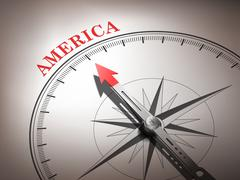 Stock Illustration of abstract compass needle pointing the destination america