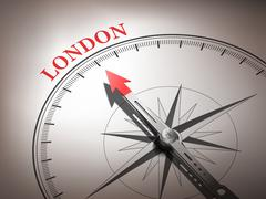 Stock Illustration of bstract compass with needle pointing the destination london