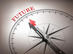 Abstract compass needle pointing the word future Stock Illustration