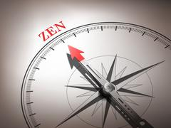 Stock Illustration of abstract compass needle pointing the word zen
