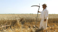 Peasant in a field with a hand mower  Stock Footage