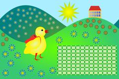 School timetable with little chicken - stock illustration