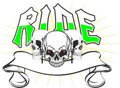 Skulls ride - stock illustration