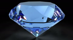 Animation blue diamond on black background Stock Footage