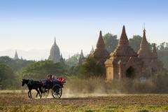 chariots sight seeing in bagan, myanmar - stock photo