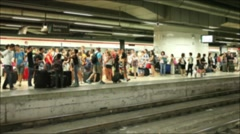 Anonymous crowd train passing - underground - metro - subway Stock Footage