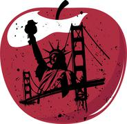 new york the big apple - stock illustration