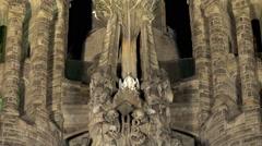 Sagrada Familia church at night. Barcelona. Stock Footage
