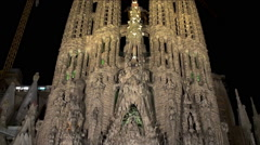 Sagrada Familia church at night. Barcelona. Stock Footage