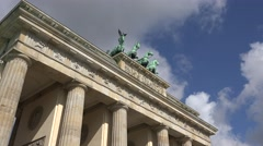 ULTRA HD 4K Brandenburg Gate silhouette blue sky Berlin city Germany iconic arch - stock footage