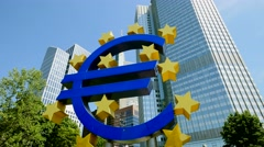 european central bank. ecb. frankfurt am main. euro currency sign - stock footage